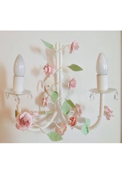 Arandela Nice Dupla 2 lâmpadas com flores ( lustre de parede)