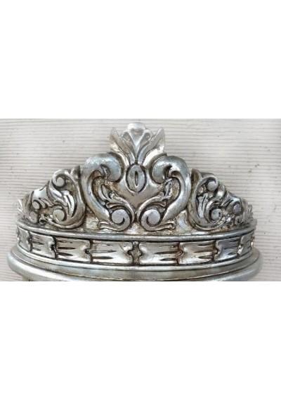 Dossel Cassis parede coroa prata envelhecido