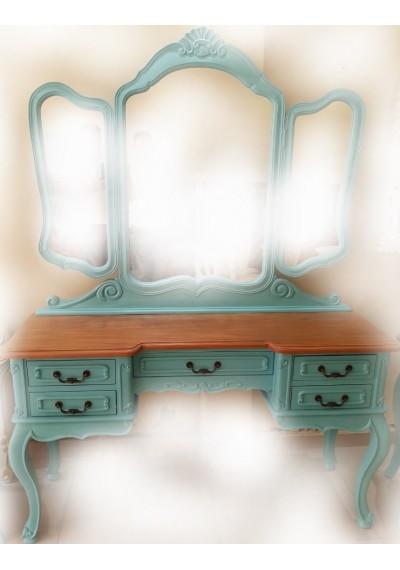 Penteadeira 3 espelhos azul turquesa retro  vintage tiffany