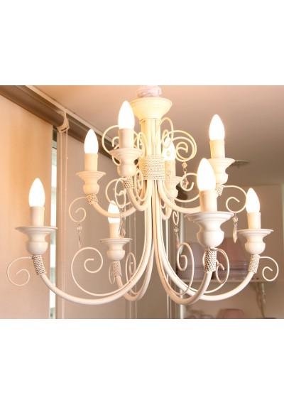 Lustre em ferro  chamon dois andares 8 lampadas
