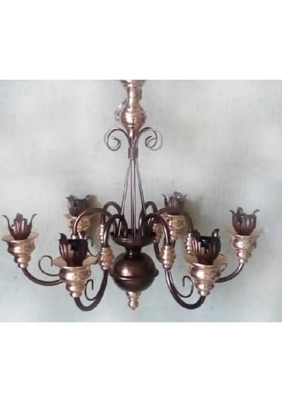 Lustre clássico  6 lâmpadas com boquilhas de lírio