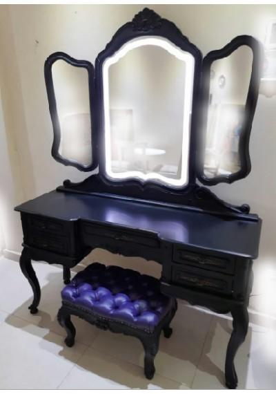Penteadeira preta provençal vintage com luz de LED