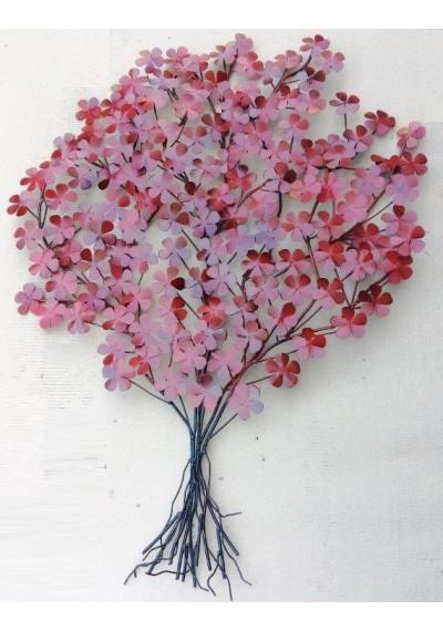 Escultura em ferro painel parede com flores em relevo