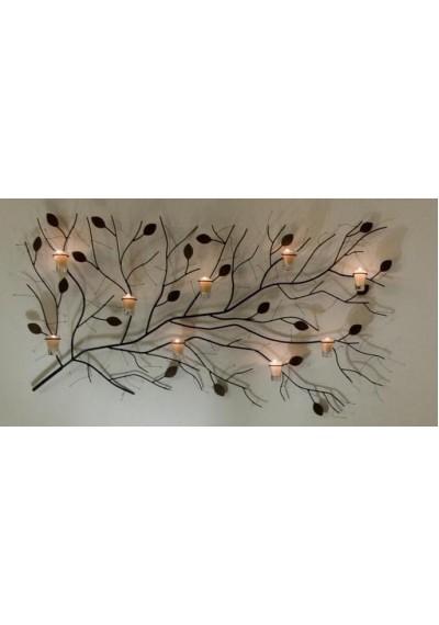 Painel de ferro Galho seco com 9 velas
