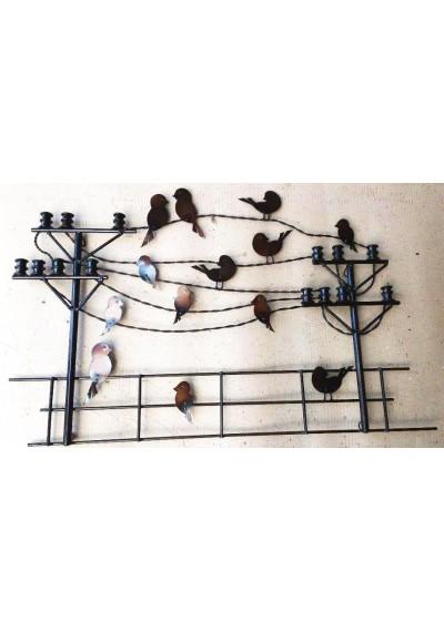 Painel  Escultura de parede  em ferro com postes e pássaros 100 x 60 cm