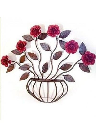 Painel em ferro com rosas gradiada vaso