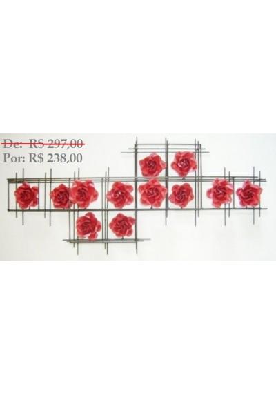 Painel de parede em ferro Grade 12 rosas