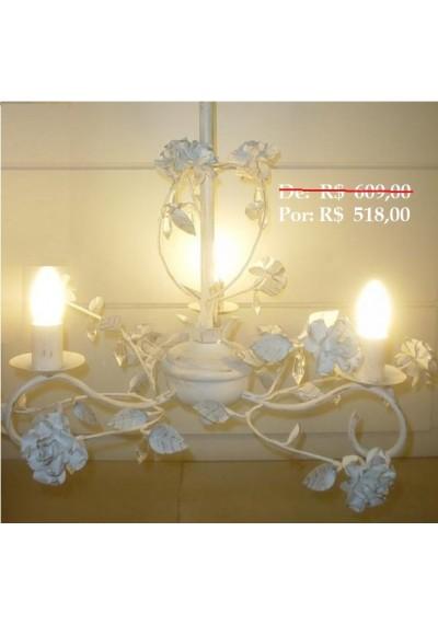 Lustre colonial flores em ferro 3 lampadas