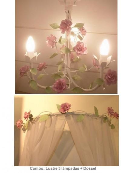 Acessorios iluminacao para quarto de bebe Menina Flores:Lustre + dossel.