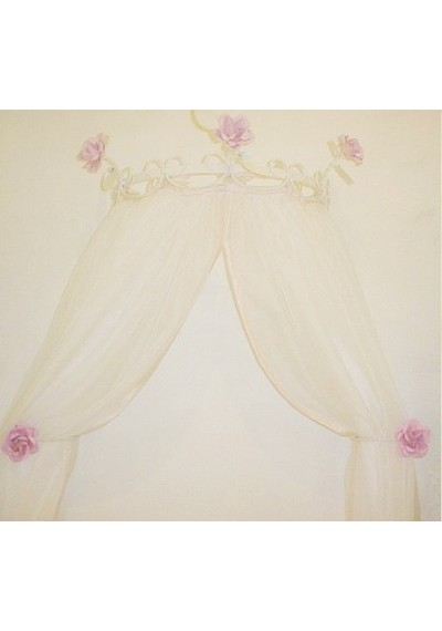 Dossel provence charme três rosas 40cm + 02 Reposteiros/Abraçadeiras de cortina