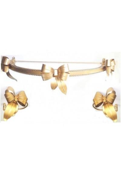 Dossel de laços dourado liso 55cm + Par Abraçadeira de cortina de laço