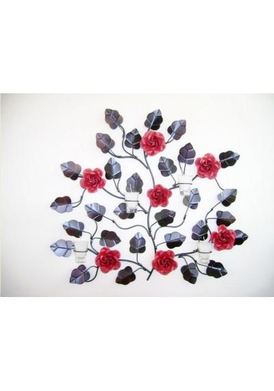 Painel em ferro Galho com 7 rosas com velas