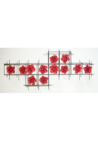 Painel em ferro Grade 12 rosas