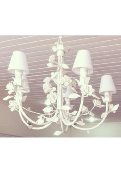Lustre em ferro provençal rosas 5 lâmpadas  com cúpulas