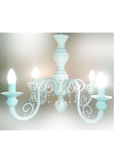 Lustre em ferro Chamon 4 lampadas branco quarto