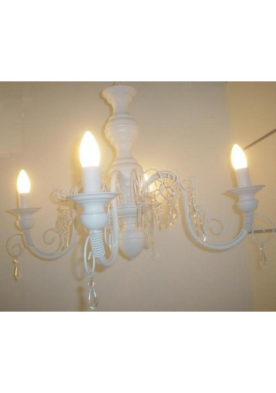 Lustre em ferro 4 lampadas com pingentes