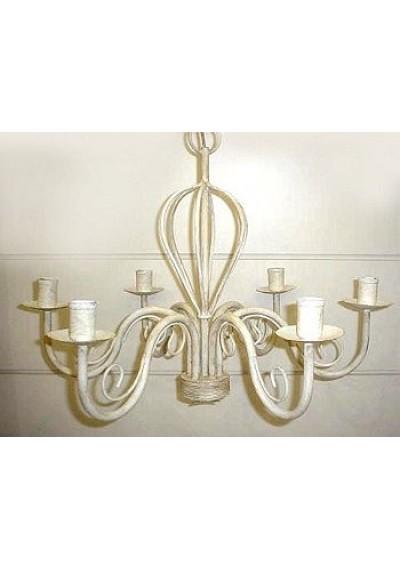 Lustre em ferro colonial 6 lâmpadas