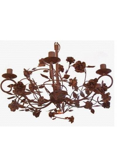 Lustre em ferro colonial flores 6 lâmpadas
