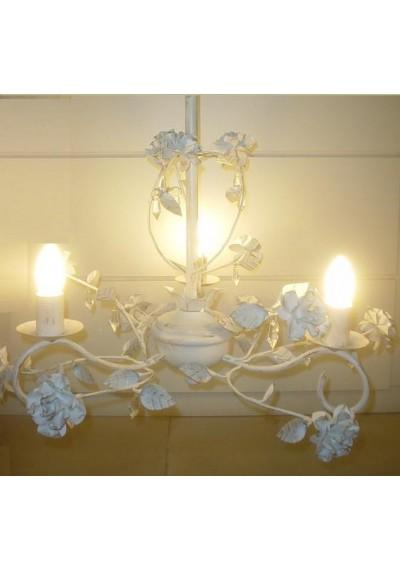 Lustre em ferro colonial flores 3 lâmpadas