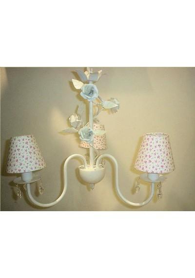 Lustre romântico geneve 3 lâmpadas