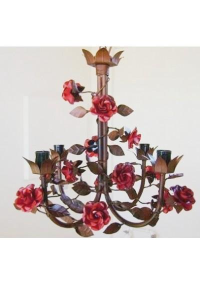 Lustre  floral em ferro Provence Rosas 4 lâmpadas
