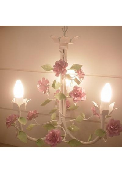 Lustre 3 hastes com flores rosas