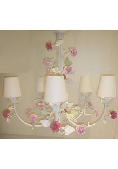 Lustre infantil com flores 5 lâmpadas