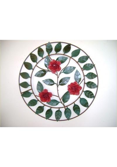 Painel em ferro com rosas redonda
