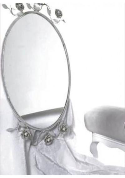 Moldura espelho oval com flores