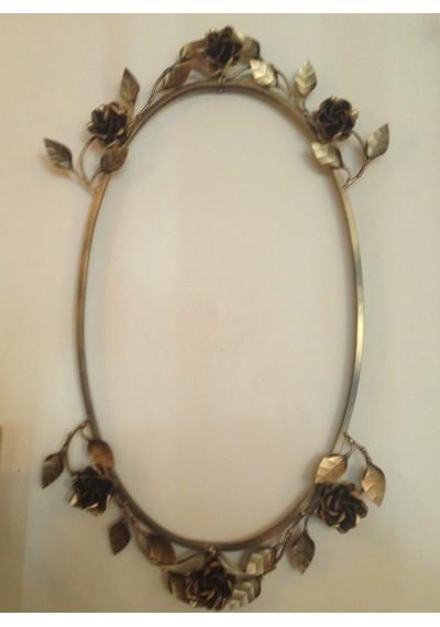 Porta espelho oval com flores moldura