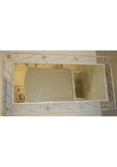 Moldura espelho em ferro com rosas e arabescos