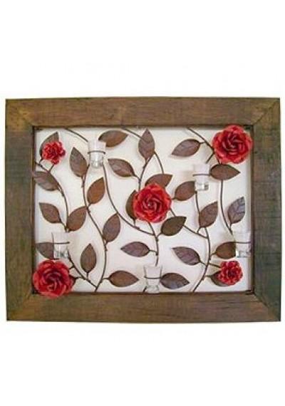 Quadro em ferro com rosas e velas